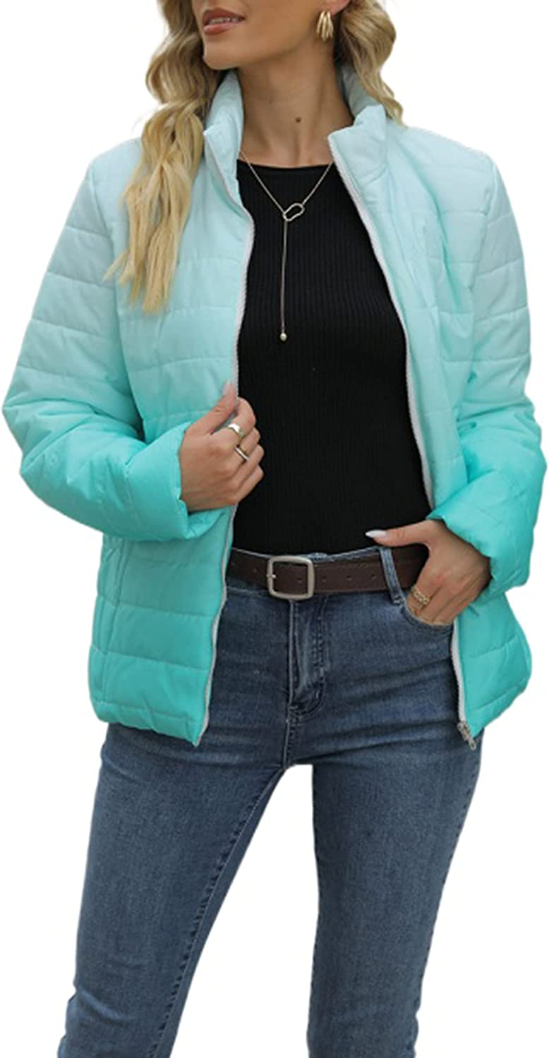 UANEO Womens Ombre Quilted Puffer Jacket Packable Zip Up Stand Collar Down Coats