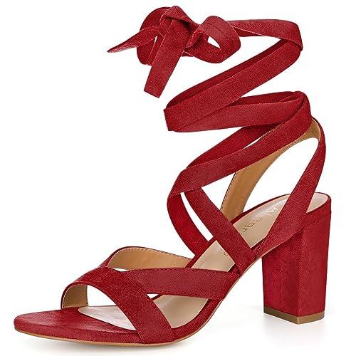 915c716af973 Allegra K Women s Crisscross Chunky Heel Lace Ups