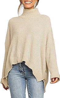 Sollinarry Women's Turtleneck Long Sleeve High-Low Hem Split Knit Pullover Sweater Jumper