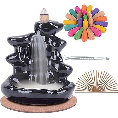 SPACEKEEPER Portaincensi in Ceramica Fatto a Mano con riflusso Bruciatore di incenso a Cascata, aromaterapia Decorazioni per la casa con 120 Coni di incenso di riflusso + 30 Bastoncini
