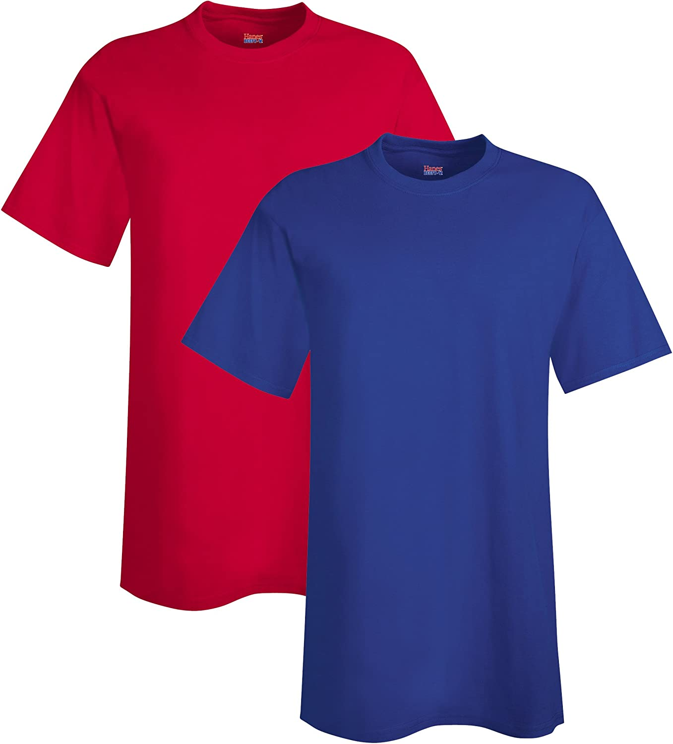 Hanes Men's Tall Beefy-T (Pack of 2), 3XLT, 1 Deep Red / 1 Deep Royal