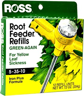 Ross Green-Again Fertilizer Refills for Ross Root Feeder, 5-35-10 (Iron Plus Formula for Yellow Leaf Sickness), 12 Refills