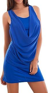 Toocool - Vestito Donna Mini Abito Corto Velato Scollo Cascata Vogatore Top Nuovo AS-2302