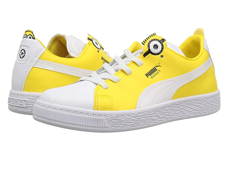 Puma Kids Minions Basket BS AC (Little Kid/Big Kid) (Puma White/Puma Black/Dandelion) Kid