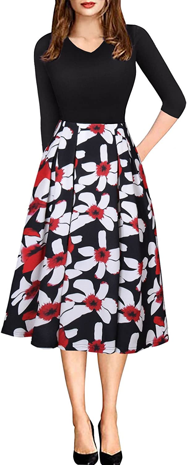Engood Women's Vintage V Neck Patchwork Pockets Puffy Swing Casual Party Dress