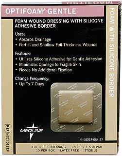 """Medline MSC2033EPZ Optifoam Gentle Border Adhesive Dressings, 3"""" x 3"""" (Pack of 10) Packaging may vary"""