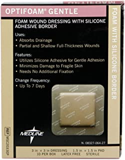 Medline MSC2033EPZ Optifoam Gentle Border Adhesive Dressings,  3 x 3 (Pack of 10)