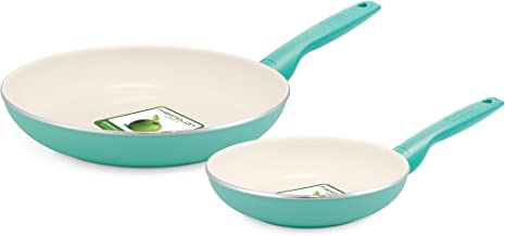 GreenPan Rio 8 Inch and 10 Inch Ceramic Non-Stick Fry Pan Set, Turquoise - CW001419-002