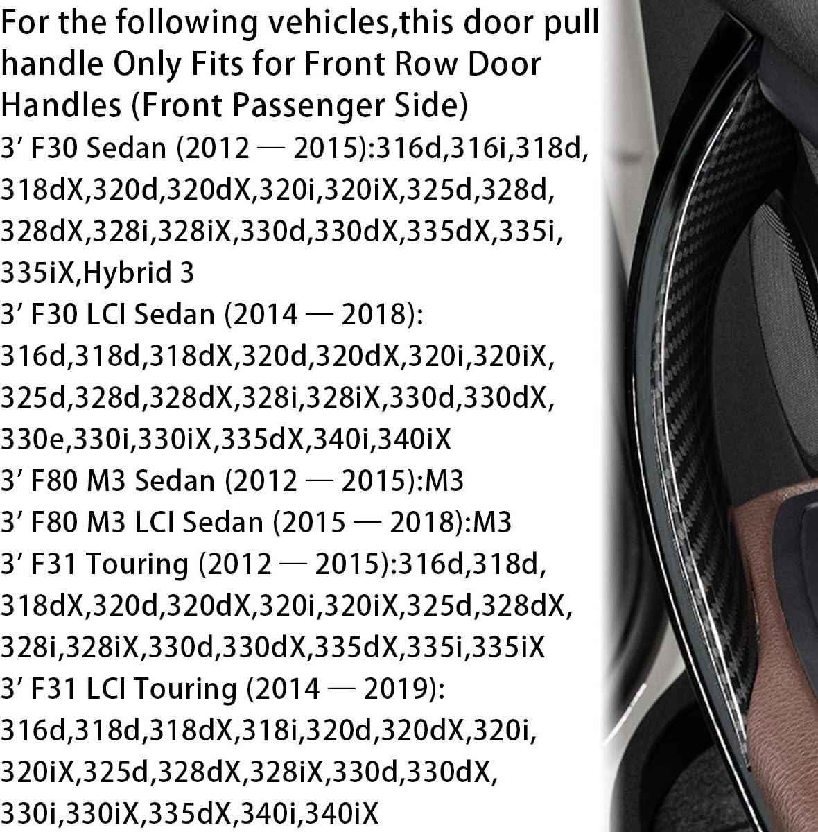 Fits:BMW 328 320 335 12-18,420 435 M4 12-17 Carbon Fiber Pattern Moonlinks for BMW 3 4 Series Carbon Fiber Inner Door Pull Handle Bracket Replacement,Front Left Driver Side Inner Door Handle