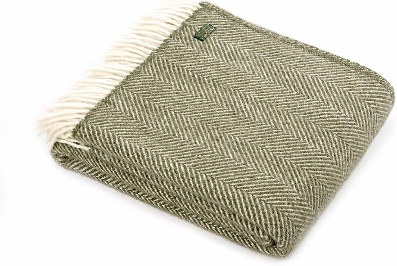 Tweedmill Textiles Fischgrtenmuster Schurwolle Decke überwurf Teppich Olive grün British Made
