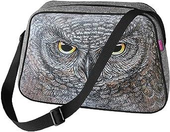 Große Damen Tasche Handtasche Umhängetasche Filz Grau Aufdruck Motiven NESI Eule-Eleonora