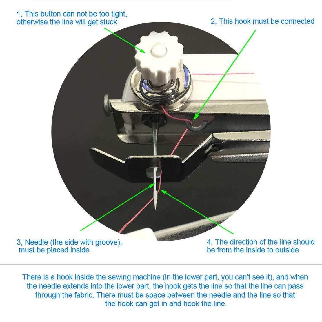 Aoweika Mini Máquina de Coser Portátil Manual Herramienta de Puntada Rápida con Carretes de Hilos, Tijera, Imperdibles y Cinta Métrica para Tela, Ropa o Tela de Niños: Amazon.es: Hogar