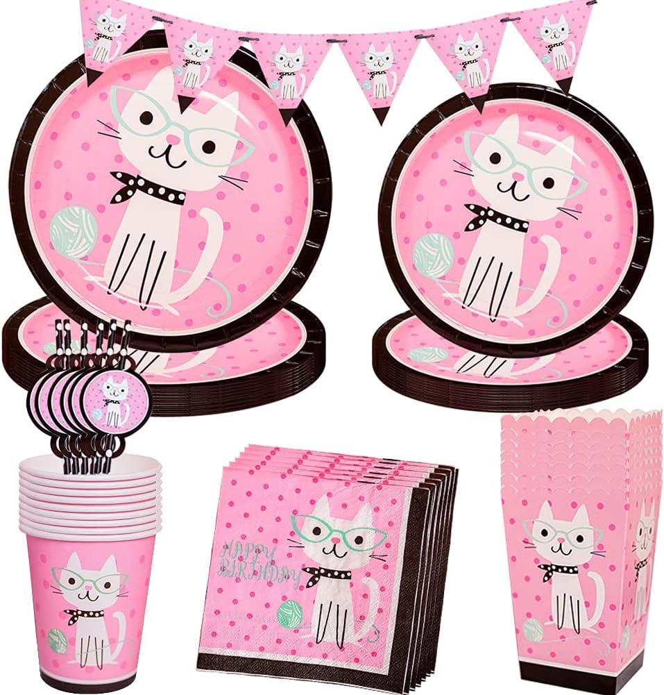 Amycute Suministros de Tema de Fiesta Gatos, 71 Pcs Vajilla de Fiesta de Mascotas con Gatos Platos Papel Vasos Servilletas Banner para Fiesta de Animales Cumpleaños Baby Shower