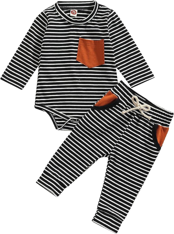 Lamuusaa Newborn Baby Boys Clothes Long Sleeve Romper Bodysuit Drawstring Stripe Long Pants Fall Winter Outfits 0-18M