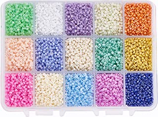 PH PandaHall 19500pcs 15 Color 12/0 Glass Seed Beads 2mm Mini Beads with Container Box for Jewelry Making