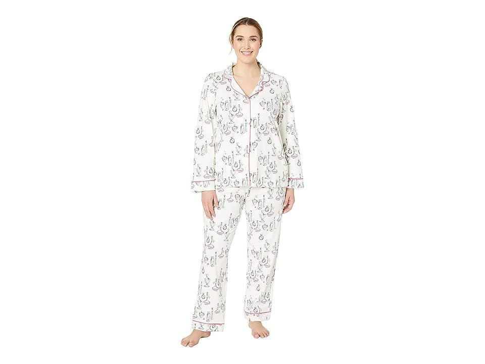 BedHead Pajamas Plus Size Long Sleeve Classic Notch Collar Pajama Set (Love Potion) Women