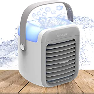 Portable Air Conditioner, Enklen Portable Air Cooler, Small Desktop Fan 3 Degree Changeable Angle Adjustable Compact Super...