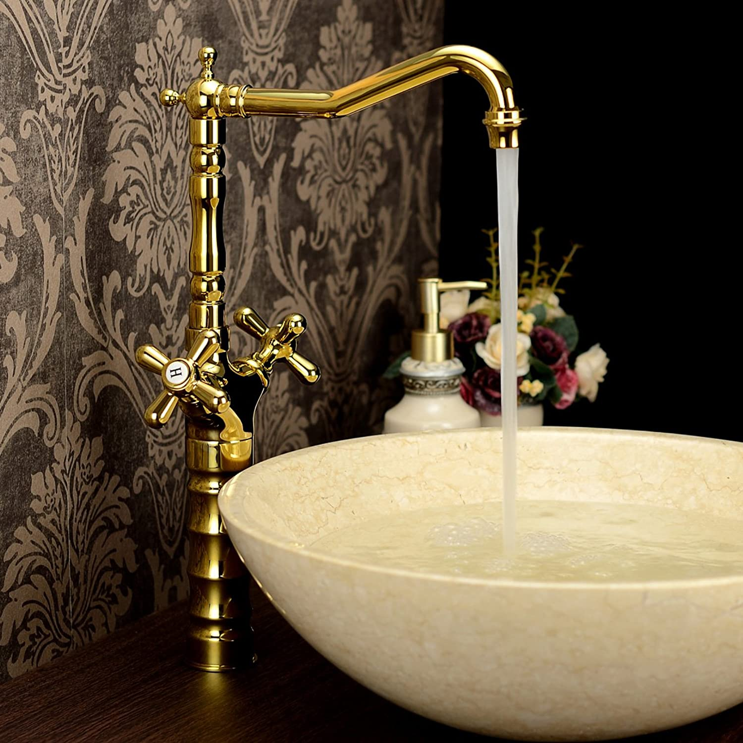 Mangeoo Euramerican style archaize faucet, hot and cold all copper basin, washbasin bibcock,Kim 181J heightening