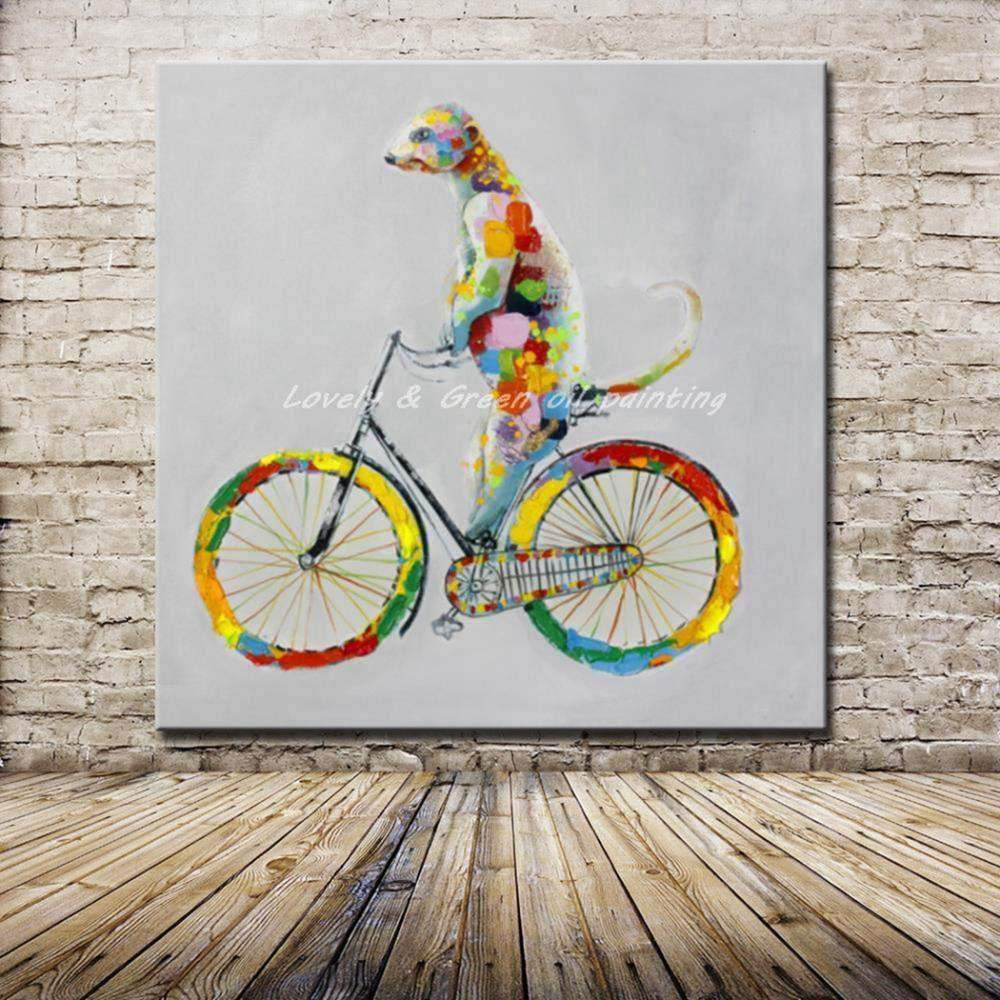 Pinturas Al Óleo Sobre Lienzo,Arte Abstracto De Mole Pintado En Bicicleta,Pintura Al Óleo Pintada A Mano,100% Pintada A Mano,Campo,Marrón,Vaca,Animal,Pintura Decorativa Sin Marco De Algodón,S: Amazon.es: Hogar