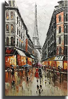 Asdam Art Paintings,Hand-Painted Eiffel Tower Canvas Wall Art Abstract Couple Painting Vertical Paris Artwork for Home Wall Framed 24x36 inch