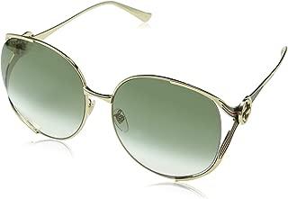 Gucci Women's Sunglasses Oversized GG0225S Gold/Green