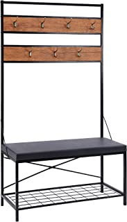 FIVEGIVEN Entryway Hall Tree with Shoe Storage Bench and Coat Rack Rustic Industrial with 7 Hooks and Cushion Seat