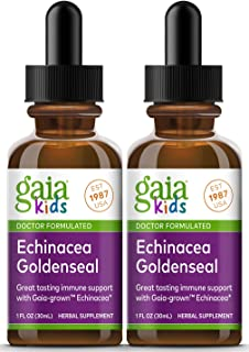 Gaia Herbs, GaiaKids Echinacea Goldenseal Herbal Drops, Immune Support, Physician Formulated, 1 Fluid Ounce, 2 Pack