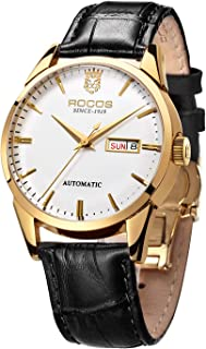 ROCOS Men's Automatic Mechanical Watch Luxury Gold Stainless Steel Wrist Watches for Men Classic Elegant Analog Casual Business Waterproof Watches with Calendar (Black Strap)