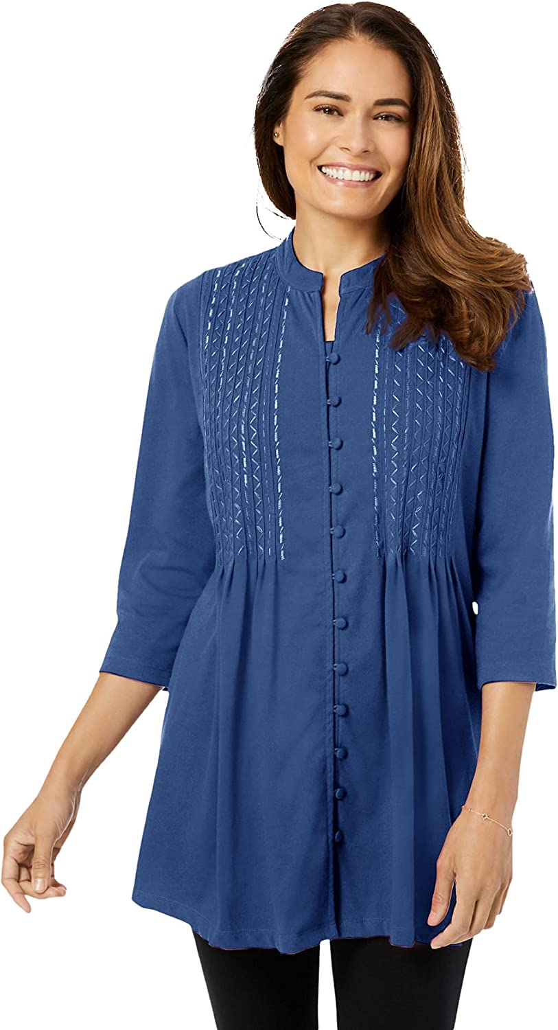 Woman Within Women's Plus Size Pleated Embroidered Tunic