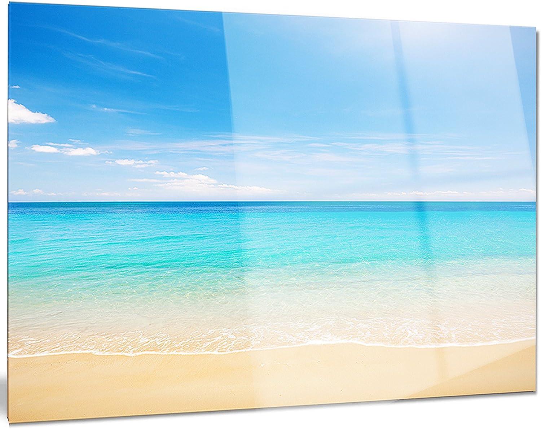 Designart Bright bluee Tropical Beach Seashore Photo Metal Wall Art, 28x12, 12'' H?x?28'' W?x?1'' D 1P,