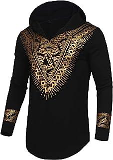 Pacinoble Mens African Dashiki Shirt Metallic Floral Printed Slim Fit Long Sleeve/Sleeveless Shirts Blouse