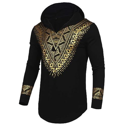 cd530626ea6 Pacinoble Mens African Dashiki Shirt Metallic Floral Printed Slim Fit Long  Sleeve Sleeveless Shirts Blouse
