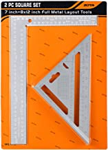 """ZOTA 2pc Carpenter Square,7""""Aluminum Rafter Square +8""""x12"""" L Framing Square Made of Proprietary Hardened Steel,Professional Easy-read Square Tool Set with Permanently Stamped"""