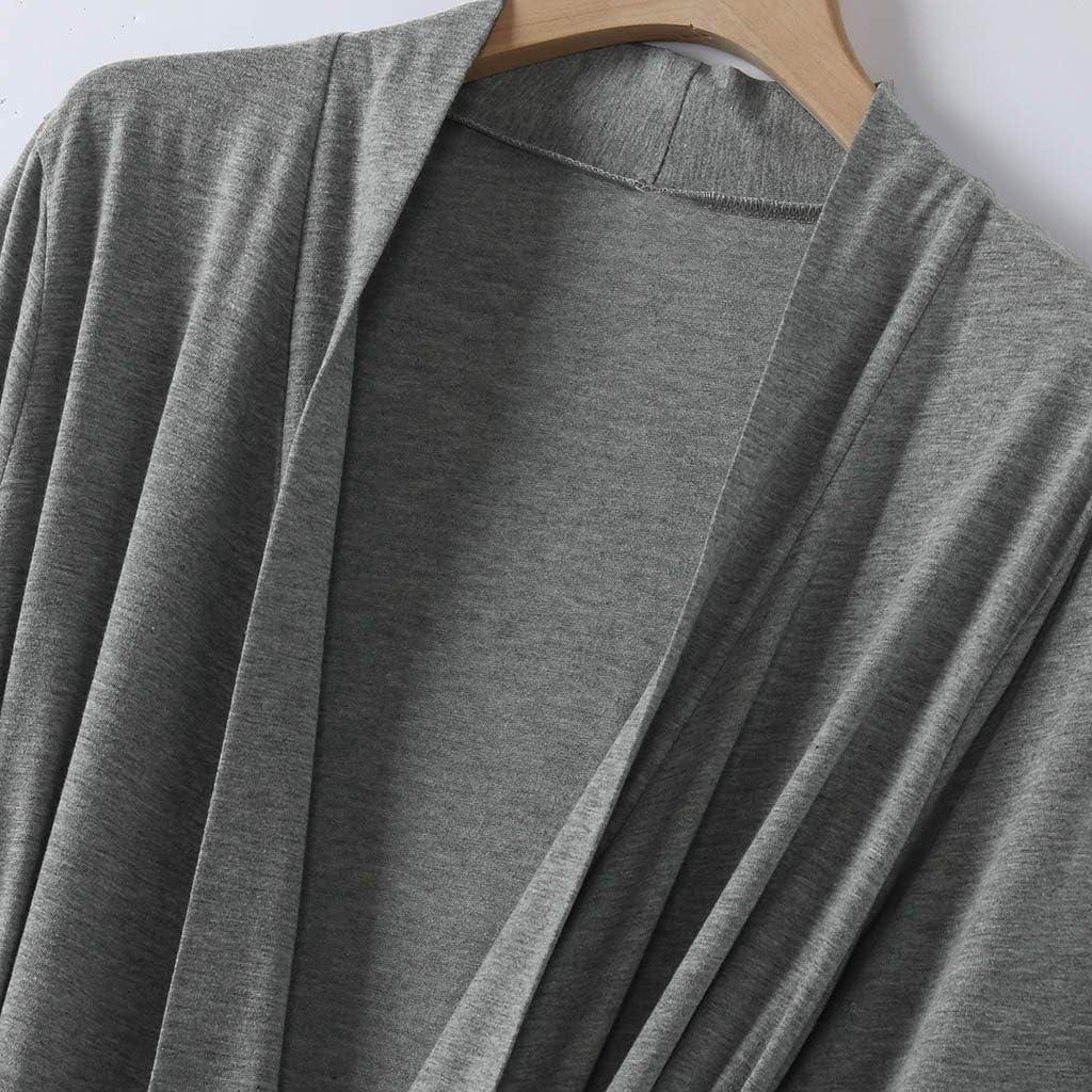 99AMZ Bata Kimono Largo Mujer Algod/ón Albornoz Ropa de Dormir Suave Loungewear Pijamas de Bolsillo con Cintur/ón Camis/ón para SPA Ba/ñarse Boda Oto/ño Invierno Camisones S-2XL