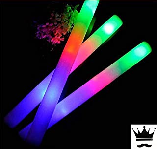 100 Pack of 18 Inch Multi Color Flashing Glow LED Foam Sticks, Wands, Batons - 3 Modes Multi-Color - Party Flashing Light DJ Wands, Concert, Festivals, Birthdays, Party Supplies, Weddings, Give Aways