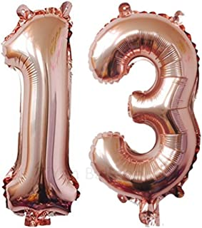 ZIYAN 40 Inch Giant 13th Rose Gold Number Balloons,Birthday / Party Balloons