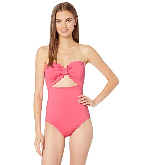 Kate Spade New York Core Solids Scalloped Cut Out Bandeau One-Piece