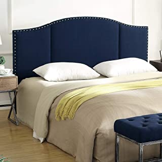 24KF Middle Century Linen Upholstered Tufted Headboard with Copper Nails King/California King headboard-Navy Blue