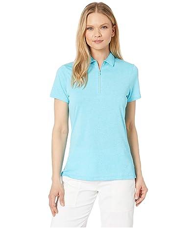 Callaway 1/4 Zip Heather Short Sleeve Polo (River Blue Heather) Women