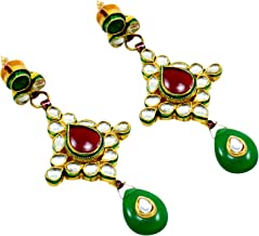 Saamarth Impex Emerald, Ruby (Created) Kundan Meena Gold Plated Dangle Earring PG-109527