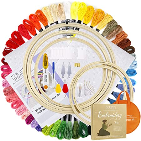 Huryfox Embroidery Starter Kit 100 Color Threads 2Pieces Aida Cloth DIY Toy for Adults and Kids Full Range of Cross Stitch Tools Set for Beginners with 5Pcs Bamboo Hoops