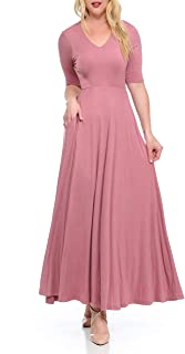 BellaTi Double Layered Front V Neck Short Sleeve Maxi Dress with Solid Rayon Spandex