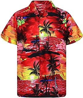 Men's Hawaiian Shirts Summer Aloha Short Sleeve Beach T-Shirts Tropical Palm Tree Printed Button-Down Tops