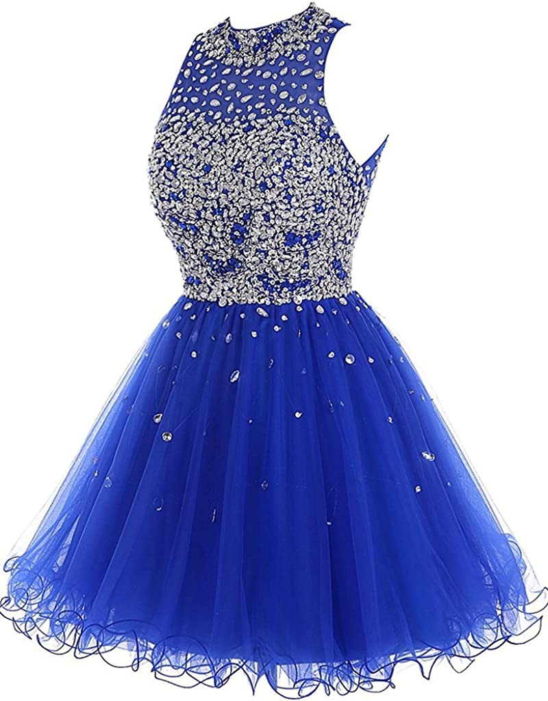 Tulle Sheer Neck Backless Crystals Factory outlet Homecoming Max 43% OFF Short Prom D Gowns