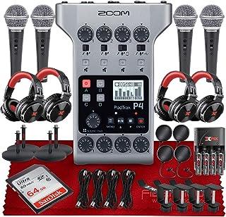 ضبط پادکست چند منظوره قابل حمل Zoom PodTrak P4 ، 4 ورودی میکروفون ، 4 خروجی هدفون ، رابط صوتی 64 GB SD ، 4 میکروفون دینامیک ، 4 X هدفون DJ Pro ، کیت لوازم جانبی پلاتین