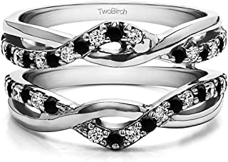 TwoBirch Sterling Silver Black and White CZ Criss Cross Infinity Ring Guard Enhancer Black and White CZ (0.23 ct.)