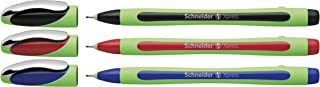 Schneider Xpress Fineliner 0.8mm Porous Point Pen, Black/Red/Blue, Pack of 3 Pens (190093)