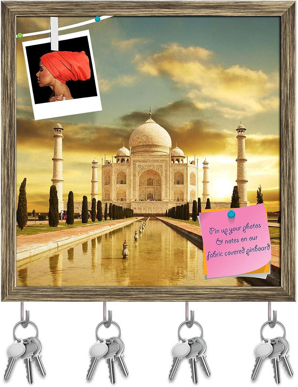 Artzfolio Taj Mahal D3 Key Holder Hooks   Notice Pin Board   Antique golden Frame 16 X 16.4Inch