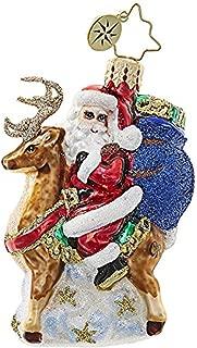 Christopher Radko Love My Ride Santa and Reindeer Little Gem Glass Ornament