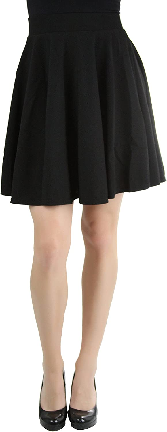 ToBeInStyle Women's Flared Above Knee Patterned Classic Scater Skirt
